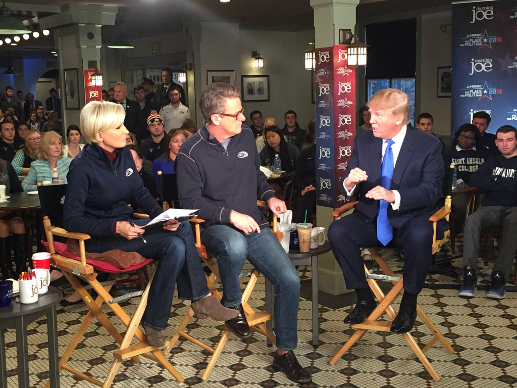 #MJinNH: @realDonaldTrump has arrived for his @Morning_Joe interview. Welcome back to campus! https://t.co/p386MmDdej