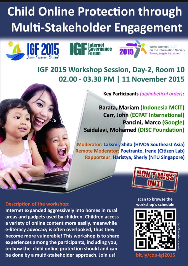 #IGF2015 sesi Child Online Protection on Internet. Remote Participant dapat bergabung 24.00 WIB https://t.co/BzIGJtlsGS