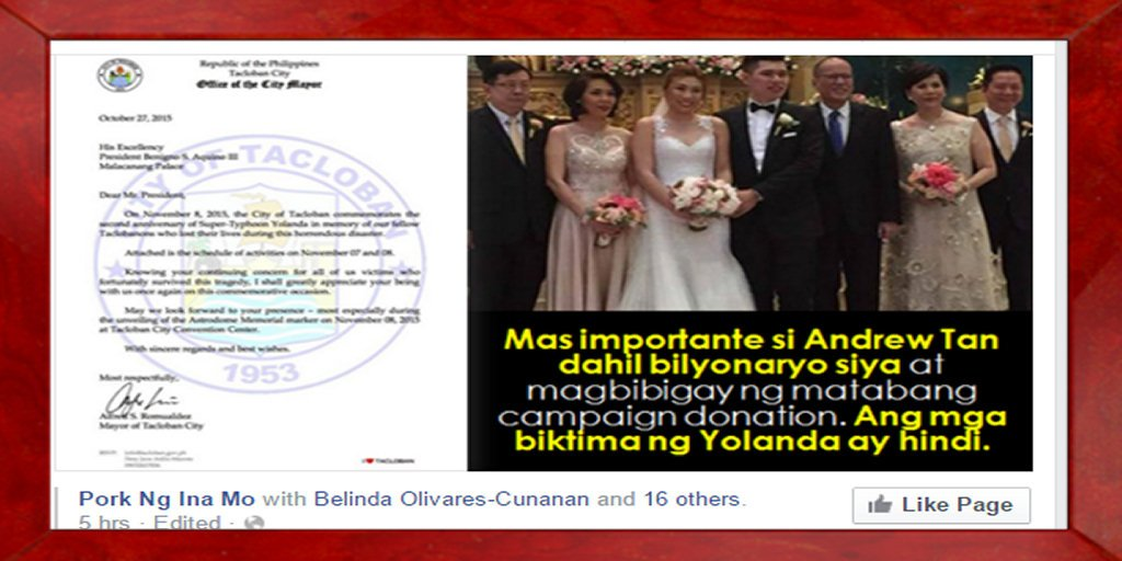 SONNY COLOMA LIED.There WAS an invitation for P-Noy #Yolanda2YearsOn But he went to a billionaire's son's WEDDING https://t.co/9sp6mgJTZb