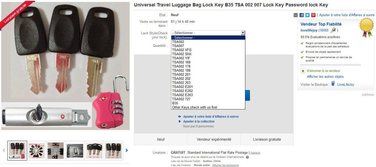 TSA keys now sold on ebay by Chinese https://t.co/WI0wAKN3bV