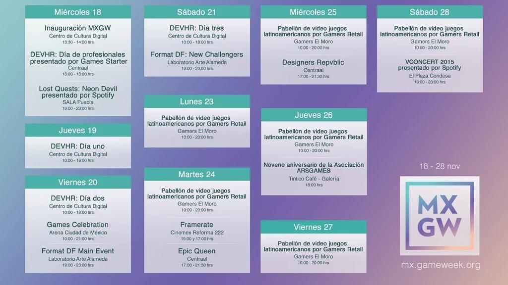 Aquí la agenda de la @MxGameWeek raza. Vayan apartando los 10 días mas #epicos ever. https://t.co/HGVBuzL6Of