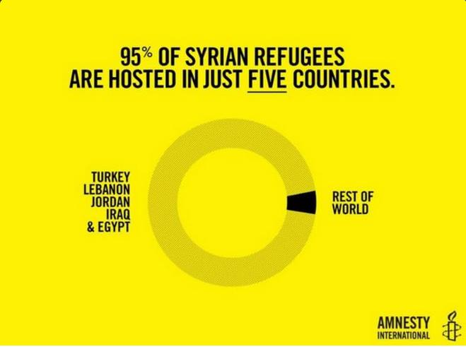 95% of #SyrianRefugees are hosted in just 5 countries #Syria https://t.co/JS7ZqsmYVL