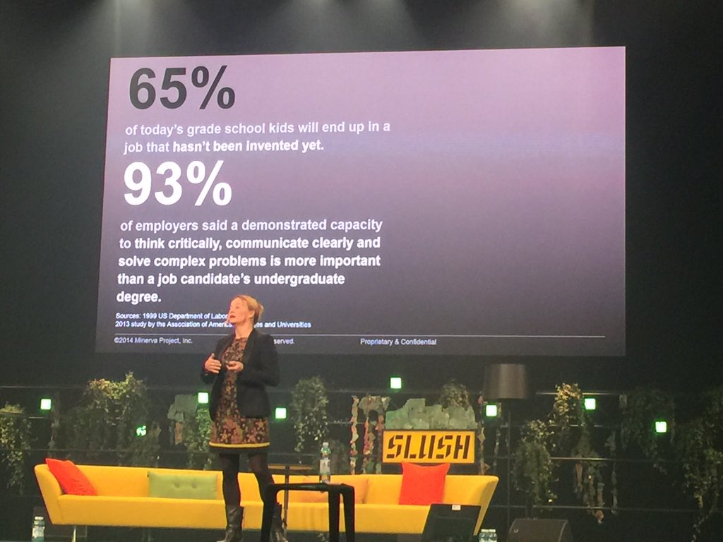 """65% of today's grade school kids will end up in a job that hasn't been invented yet"" @MYvdM #slush15 #education https://t.co/AKnVhxMEfe"