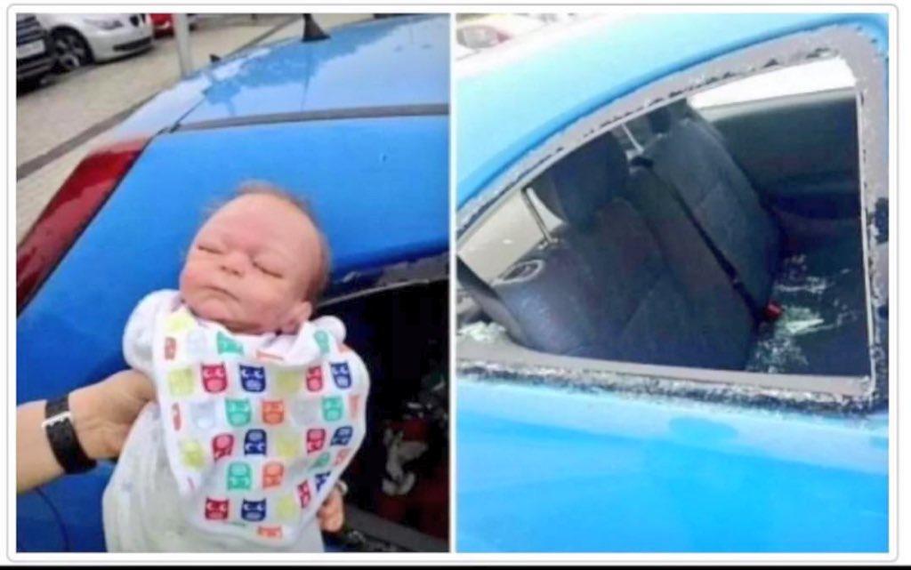 في بريطانيا الشرطة كسرت زجاج السيارة في موقف بطولي لينقذون طفلة من الاختناق   والمفاجأة : طلعت الطفلة دُمية