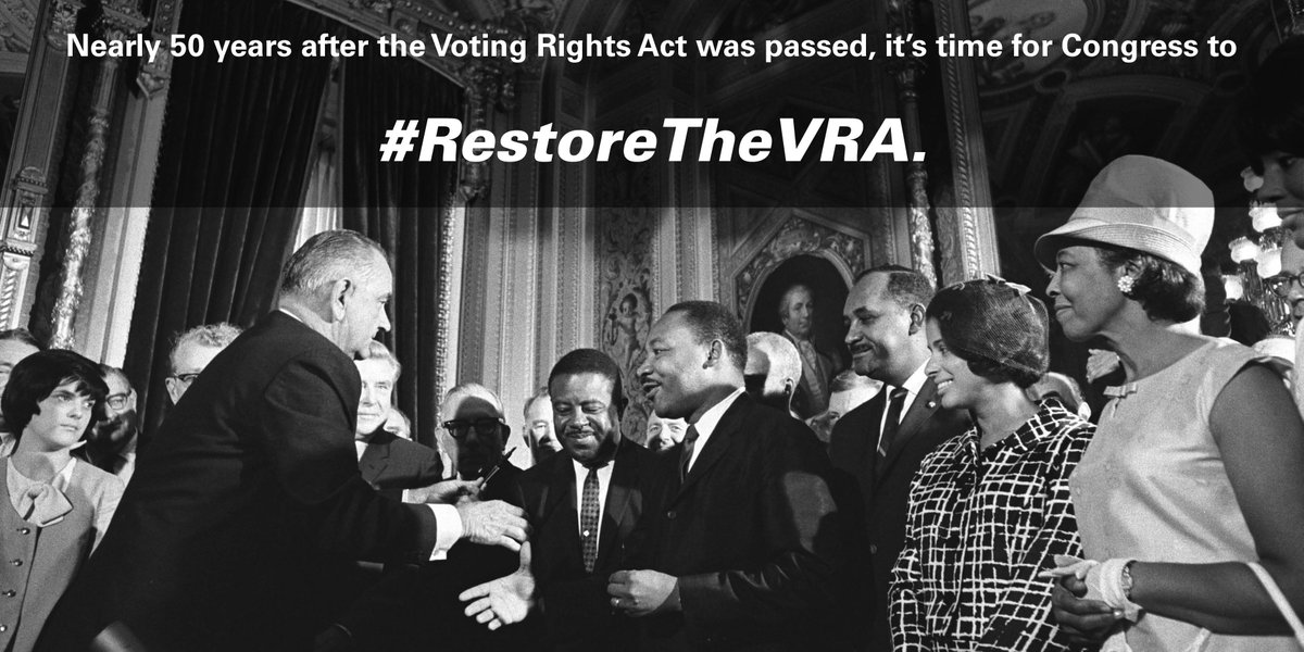 In1965, the Voting Rights Act was passed. In 2015, it must be restored: https://t.co/8lXwnvzywG #RestoreTheVRA https://t.co/rO3OQl49Wq