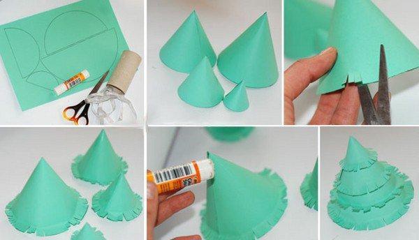 Как сделать елку своими руками бумажную