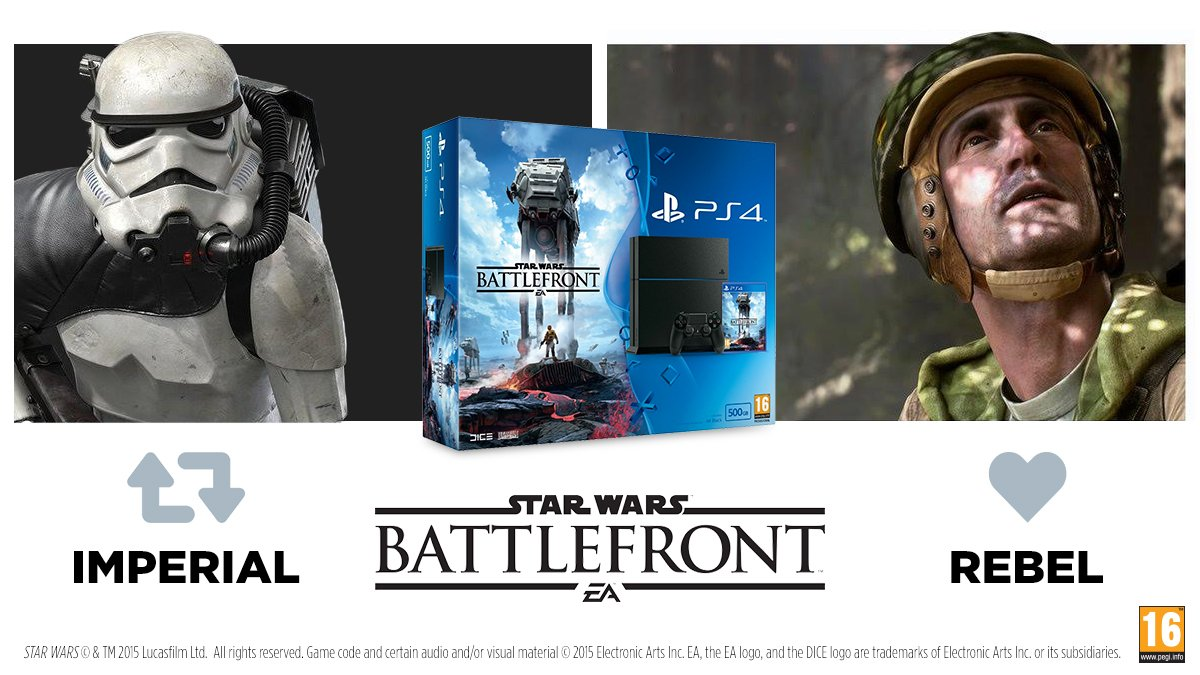 Pick a side and you could win a #StarWarsBattlefront PS4 bundle. RT / like by 21/11 to enter https://t.co/5WE7YI7Q5D https://t.co/gb22hNLCp7