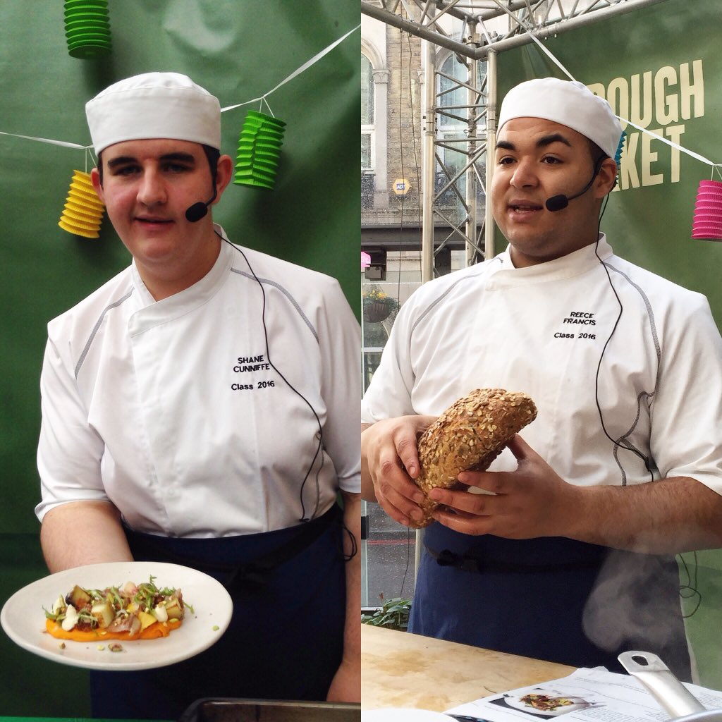 RT @dannymccubbin: Great demo @boroughmarket today by new @JamiesFifteen apprentices Reece & Shane, so many new skills learnt already https…