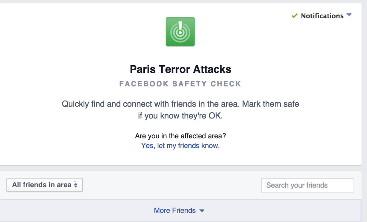 Well done @facebook. Folks, check out The Book's #ParisAttacks Safety Check feature. https://t.co/fUZFPjgXgy