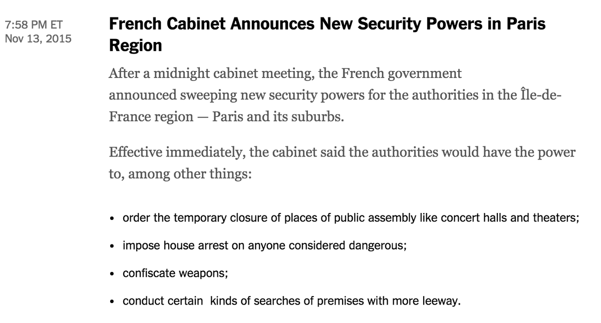 Sweeping security powers just approved for Paris region in a midnight cabinet session. https://t.co/2JacDJ2gfv https://t.co/yrqm1tMALs