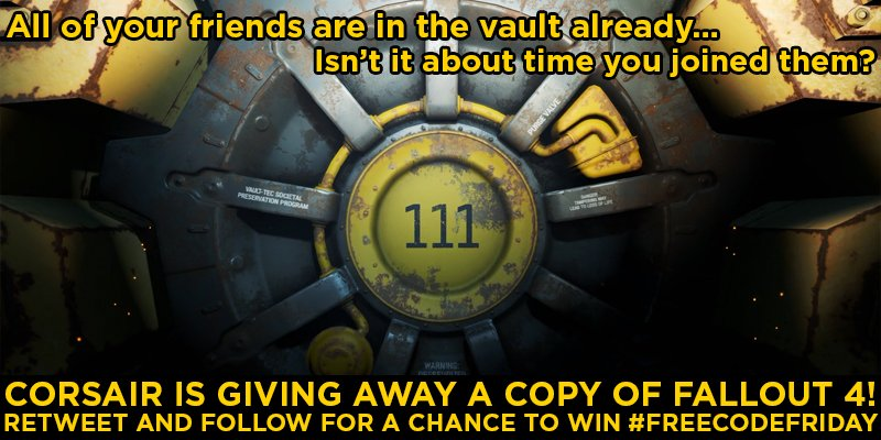 Free Code Friday. #FreeCodeFriday never changes. Follow us & RT, and you could win a copy of Fallout 4! Ends 5pm PT. https://t.co/bD3Al5PchG