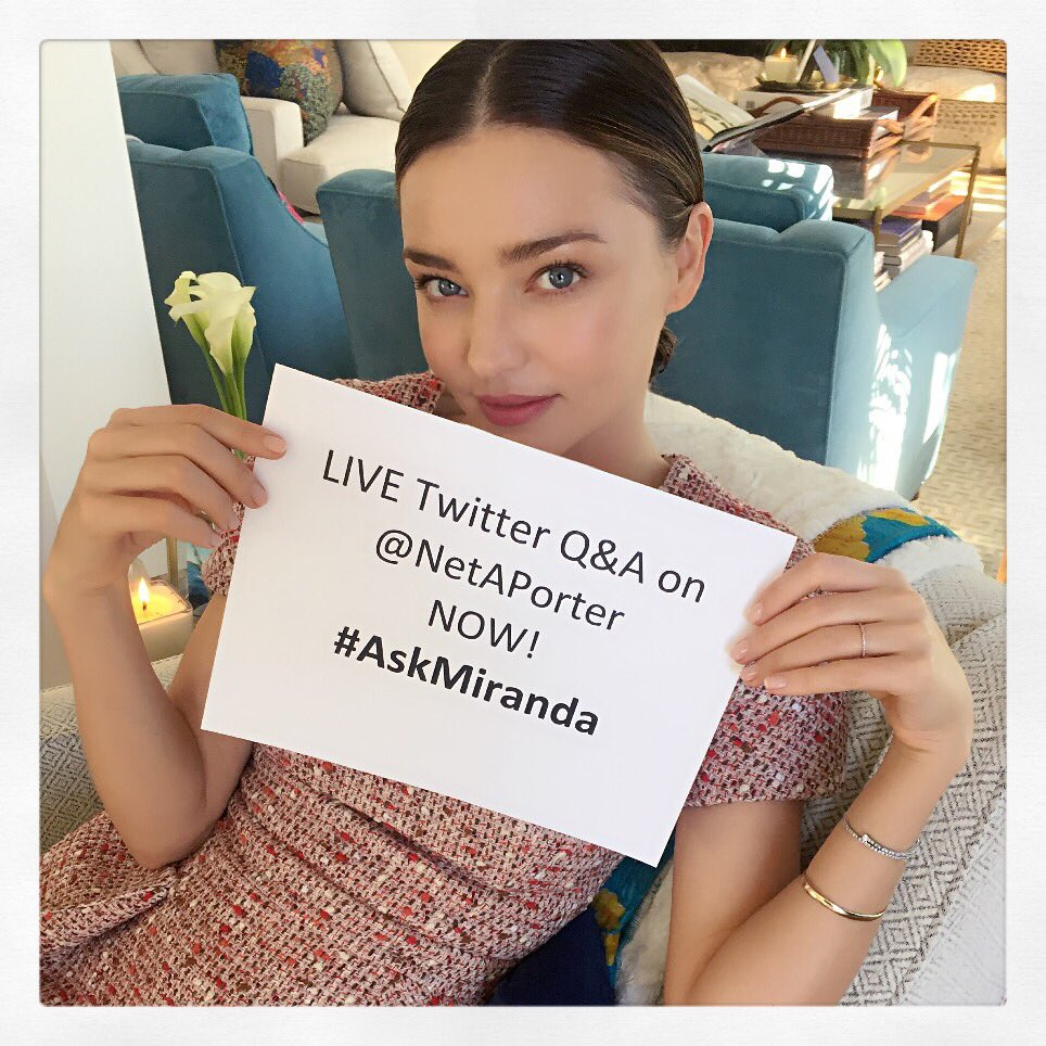 Head to the @NETAPORTER Twitter page NOW! I'll be answering all your questions live! #AskMiranda https://t.co/HAkz1uePxZ