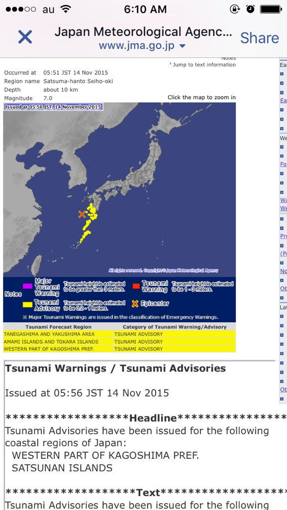 Earthquake and Tsunami warnings and of course a possible bad aftershock lmfaoo https://t.co/vrLaTtXbUA