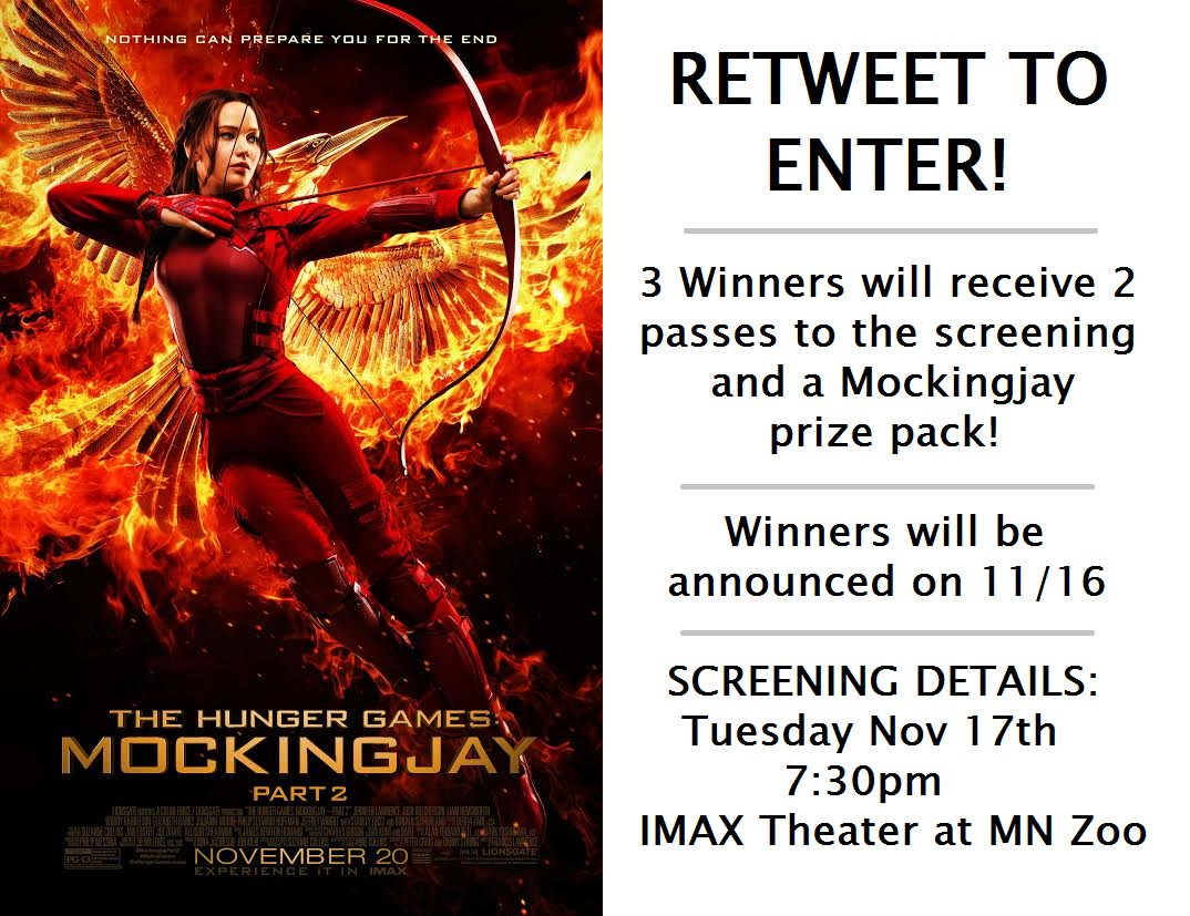 Twin Cities! Want to see #MockingjayPart2 before anyone else? I'm giving away 3 PRIZE PACKS! RT for a chance to win. https://t.co/p8sGmHtrJw