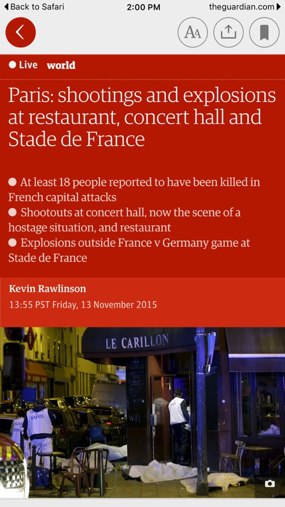 #PrayforParis. Death toll now 26 & 60 hostages at concert with California #PalmDesert band via @foxnews @guardian https://t.co/1hz3RpIqMs