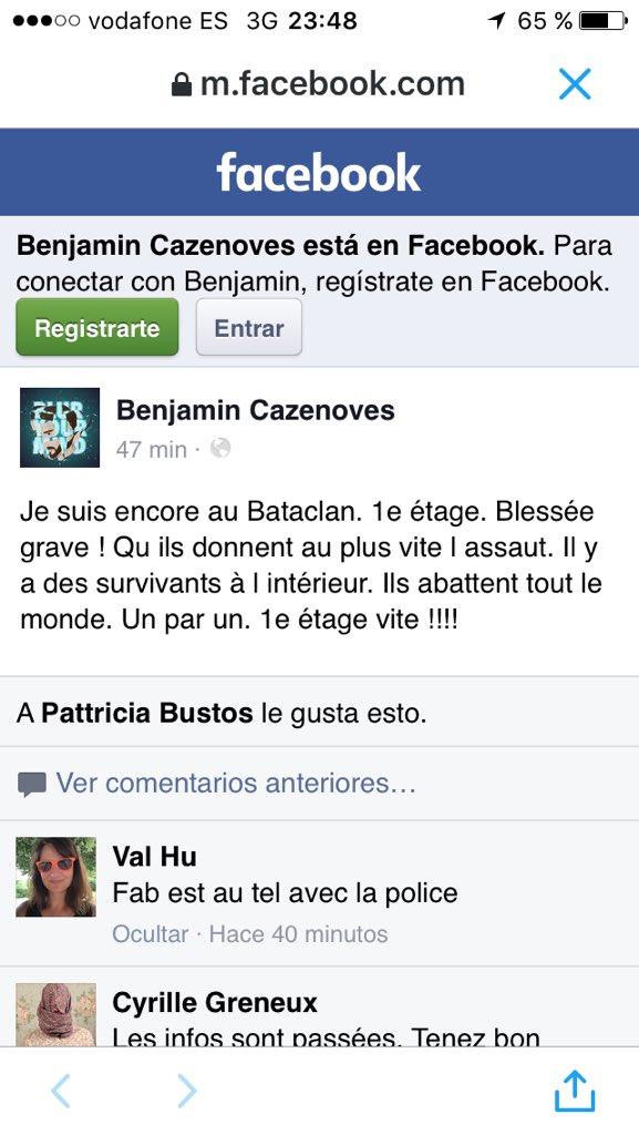 Mensaje trágico desde dentro del Bataclan. Terrible https://t.co/y94uWPllSC