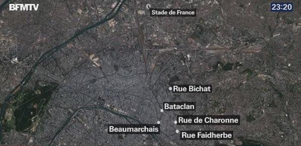 Mapa de los ataques de esta noche en París #PrayForParis https://t.co/rpbqsu9zNp