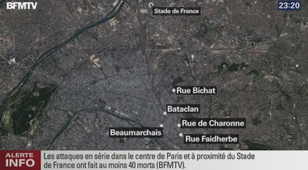 テロの現場はアジア系レストラン、ロック系ライブハウス、そしてスタジアム(スタッド・ド・フランス)。いずれも自分のような旅行者がパリに行ったら普通に行く可能性が高い場所。観光都市のあり方を根底から揺るがす大事件だ。東京も他人事ではない https://t.co/8Dd6pCU1Zm