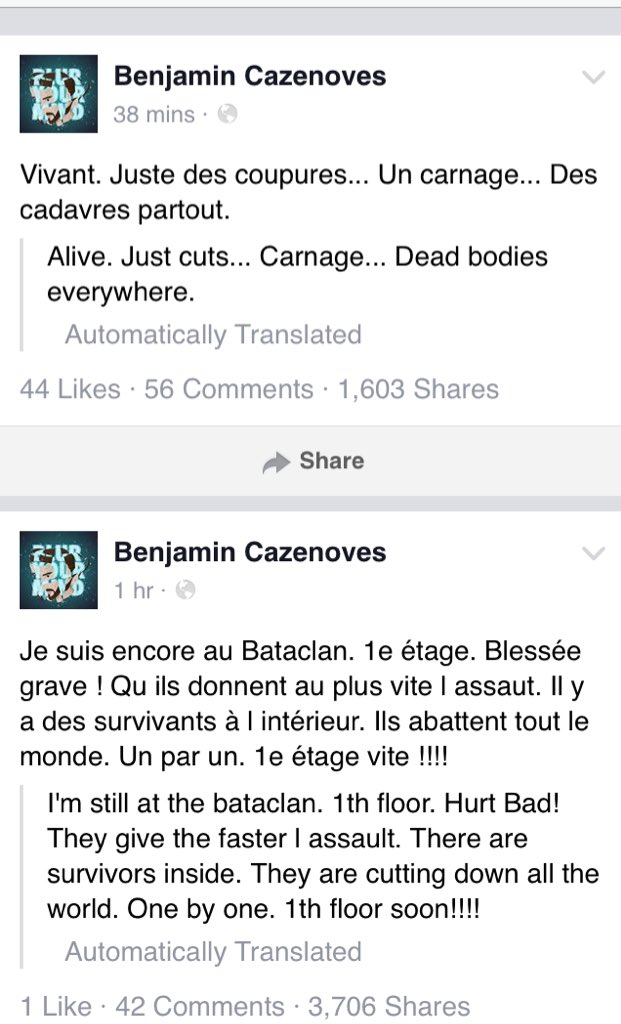 Hostage from #Bataclan @EODMofficial gig takes to Facebook to say he's ok - terrorists were killing people 1 by 1. https://t.co/9X8NXccJkH