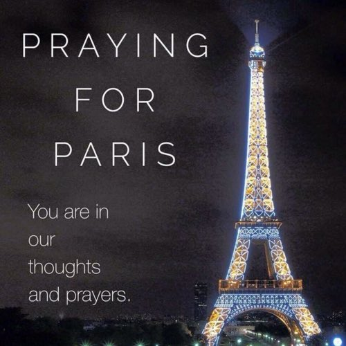 Praying for the safety of the people of Paris. Heart broken at what's happening. #Love&PrayersForParisians https://t.co/WxKsAtMfeK