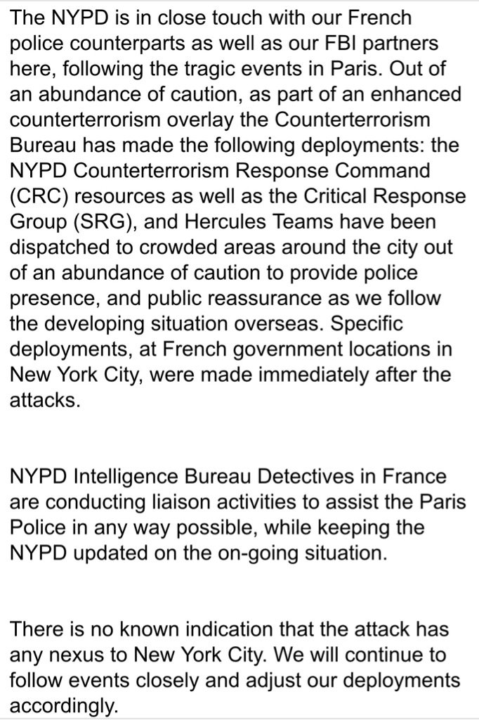 We are deploying additional police in and around New York City following the #ParisAttacks. https://t.co/3kIraFK7ko