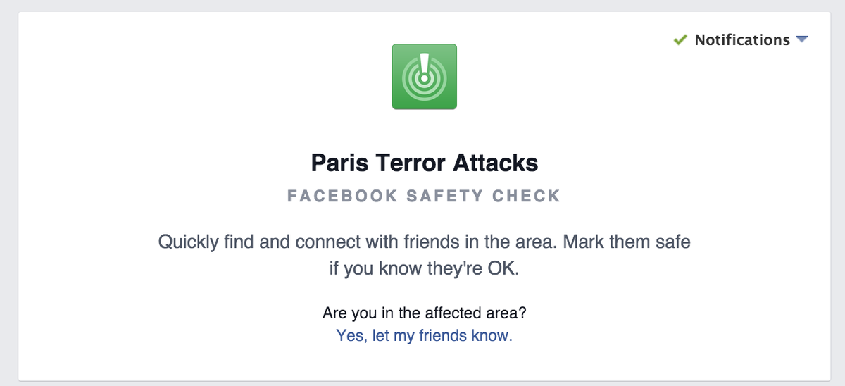 Facebook activated 'safety check' in paris. let friends ...