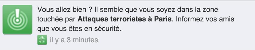 Si on habite Paris, Facebook permet de dire à ses proches qu'on est en sécurité https://t.co/lOUUHKgJHw