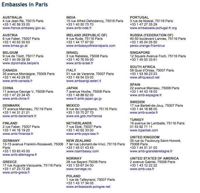 #Paris - embassy numbers https://t.co/n993kKDe7R