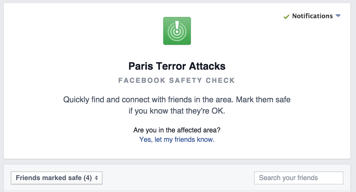 If in Paris, mark yourself or friends safe on Facebook to quickly let people know. https://t.co/dY6WvDPN6L