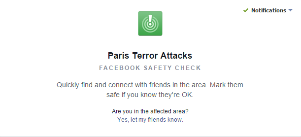 Facebook creates safety check for #ParisAttacks. See if friends are there and if they're ok https://t.co/1K7a2sHLiJ https://t.co/bzIAUwishv