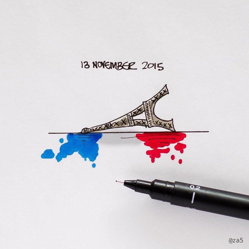 Sums it up. Powerful piece by @za5. It's sad that he even needed to draw it. #JeSuisParisian #PrayForParis https://t.co/FMipfLjxQz
