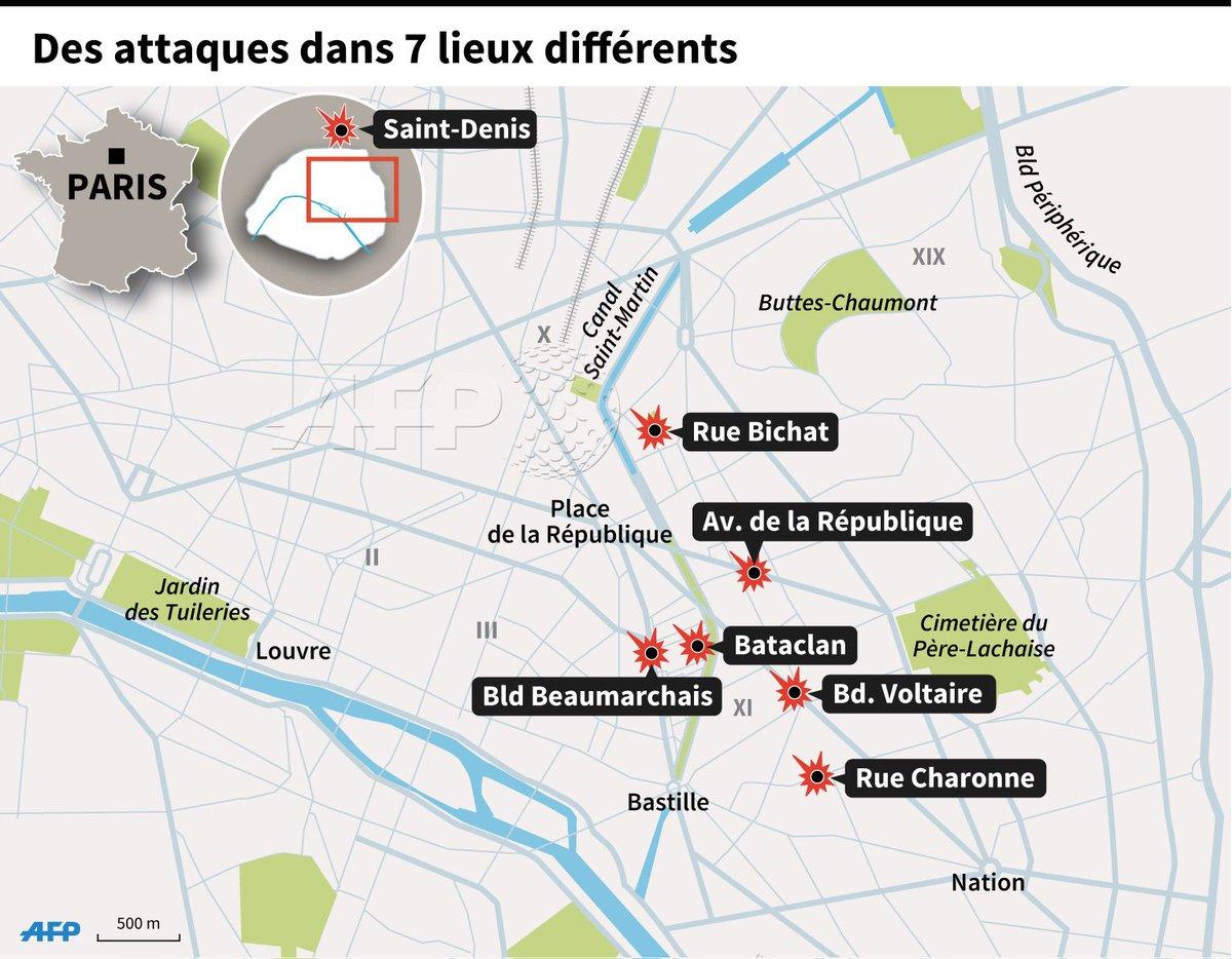Attentats à Paris : des attaques dans 7 lieux différents #AFP