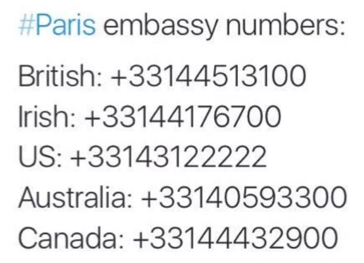 Please RT let us help anyone in need #embassynumbers #parisattacks #prayforparis #PorteOuverte https://t.co/XzUodiOJBV