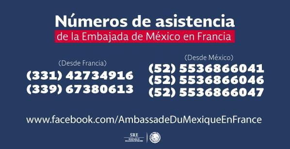 Teléfonos y cuenta de Facebook de la @EmbaMexFra para asistencia de mexicanos en #París https://t.co/MRDSNHafdc https://t.co/u1mF42sbgI