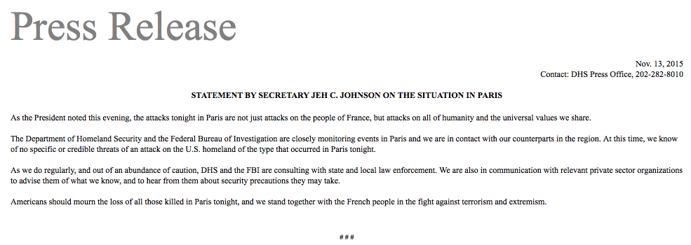STATEMENT BY SECRETARY JEH C. JOHNSON ON THE SITUATION IN PARIS https://t.co/esZPl9GCDL