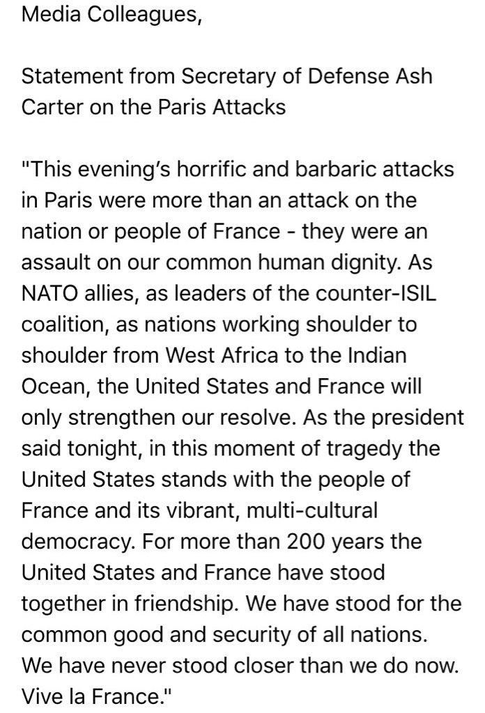 JUST IN: US SecDef Ash Carter's statement https://t.co/hWWQBGNFIN