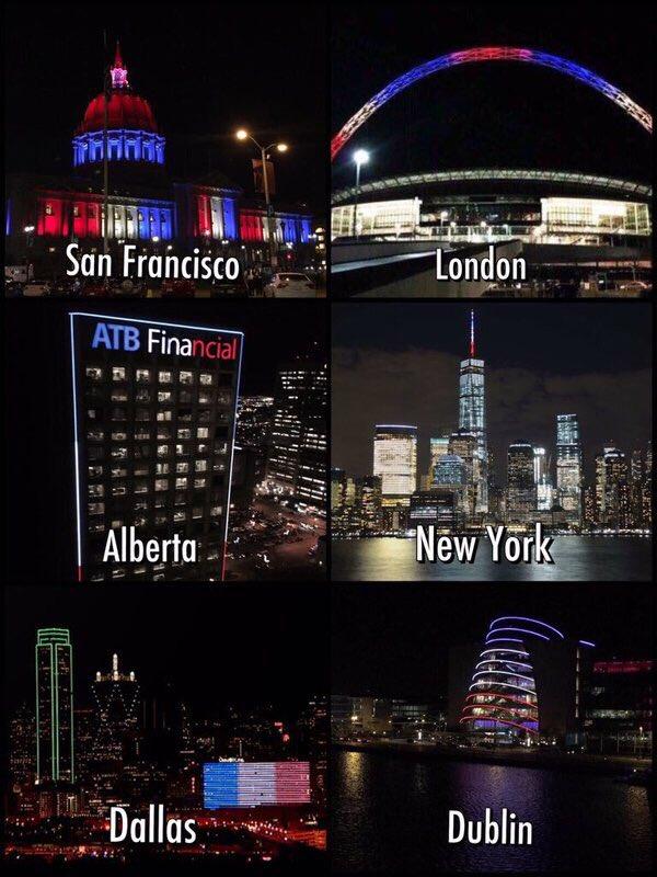 カナダ、アメリカ、イギリス、アイルランド、そしてブラジル。世界各地に灯る、静かなる声。#パリ #フランス #トリコロール #Paris #PrayForParis https://t.co/06ZxncOQAV