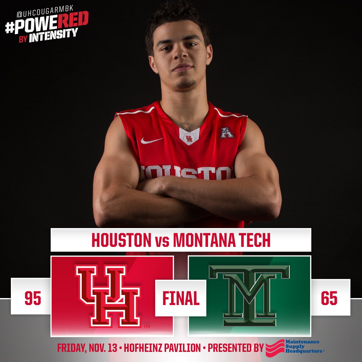 FINAL Houston 95, Montana Tech 65 Rob Gray Jr leads Coogs with 15 pts in
