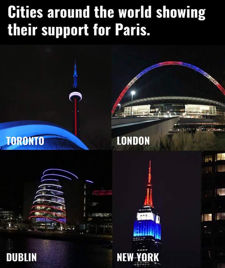 Paris is all over the world tonight and in everyone's heart! ❤