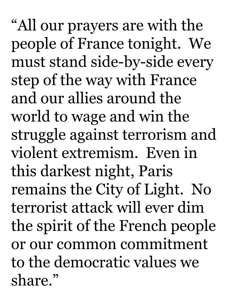 Statement from @HillaryClinton on Paris https://t.co/AzQczyIfeT