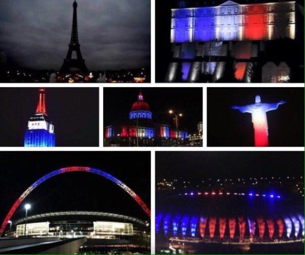 Así muestra el mundo su apoyo a #París, tras atentados terroristas. lp https://t.co/wkd22jKxi4