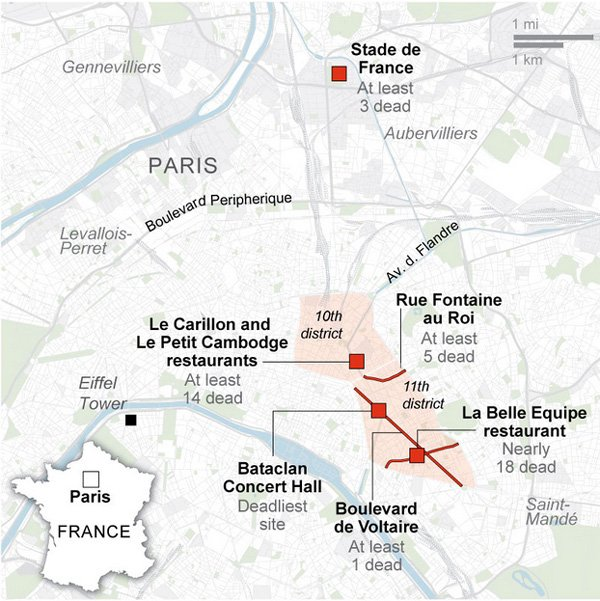 Eight extremists dead following deadly #ParisAttacks – as many as 120 Parisians dead: https://t.co/k7NGIOWro9 https://t.co/Z56qt6tg9Q