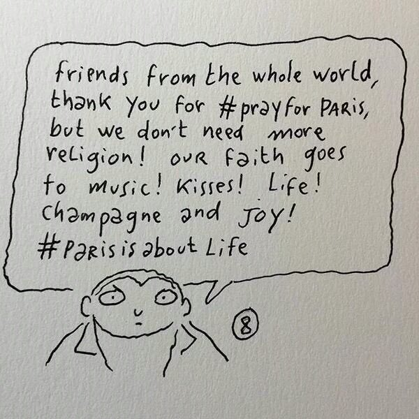 Charlie Hebdo to the world. Thank you for your prayers but we don't need more religion. https://t.co/6EZUiftC7g