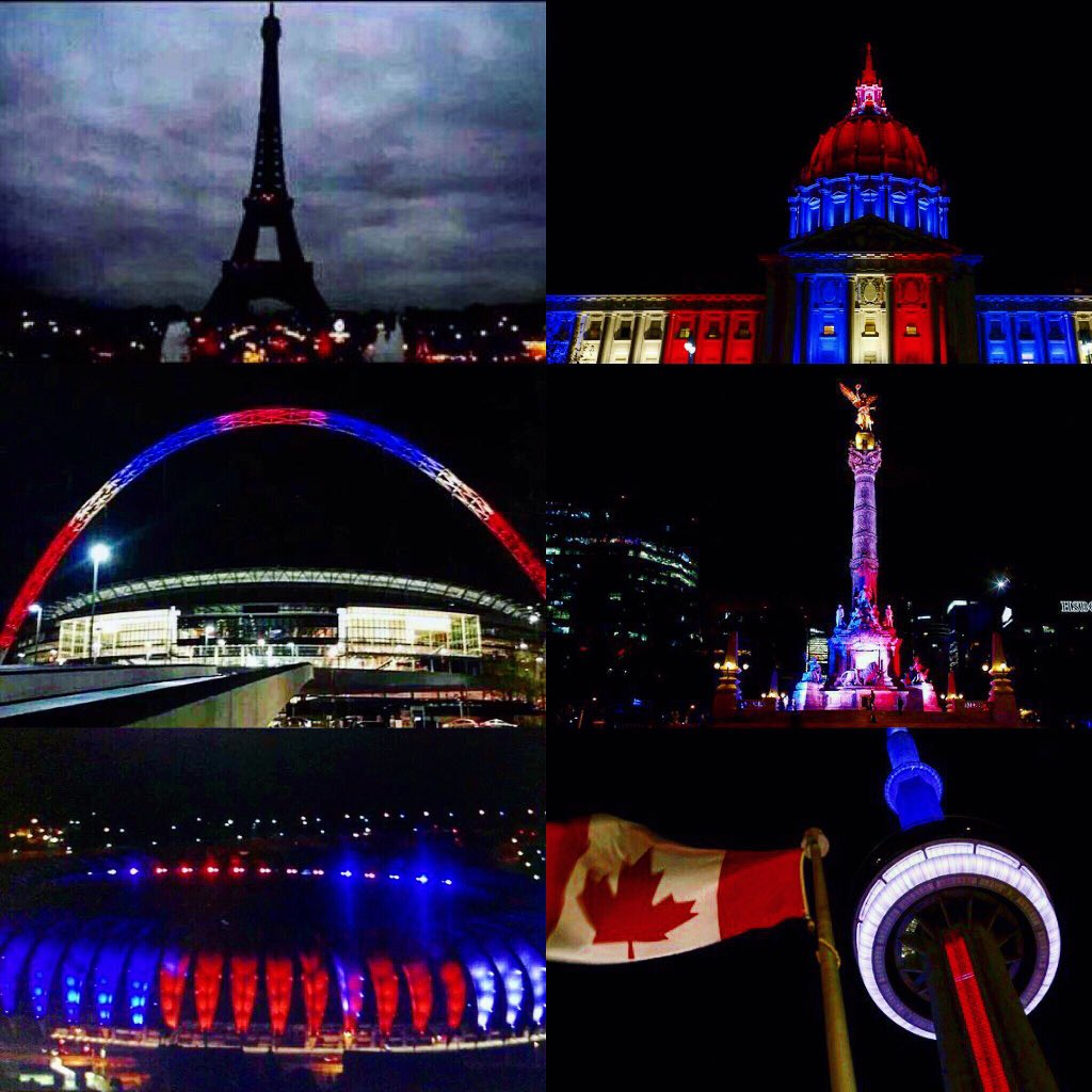 Paris, The City of Light, may have gone dark, but the rest of the world shines it's light in support!! #ParisAttacks https://t.co/YT0W4v7yUI