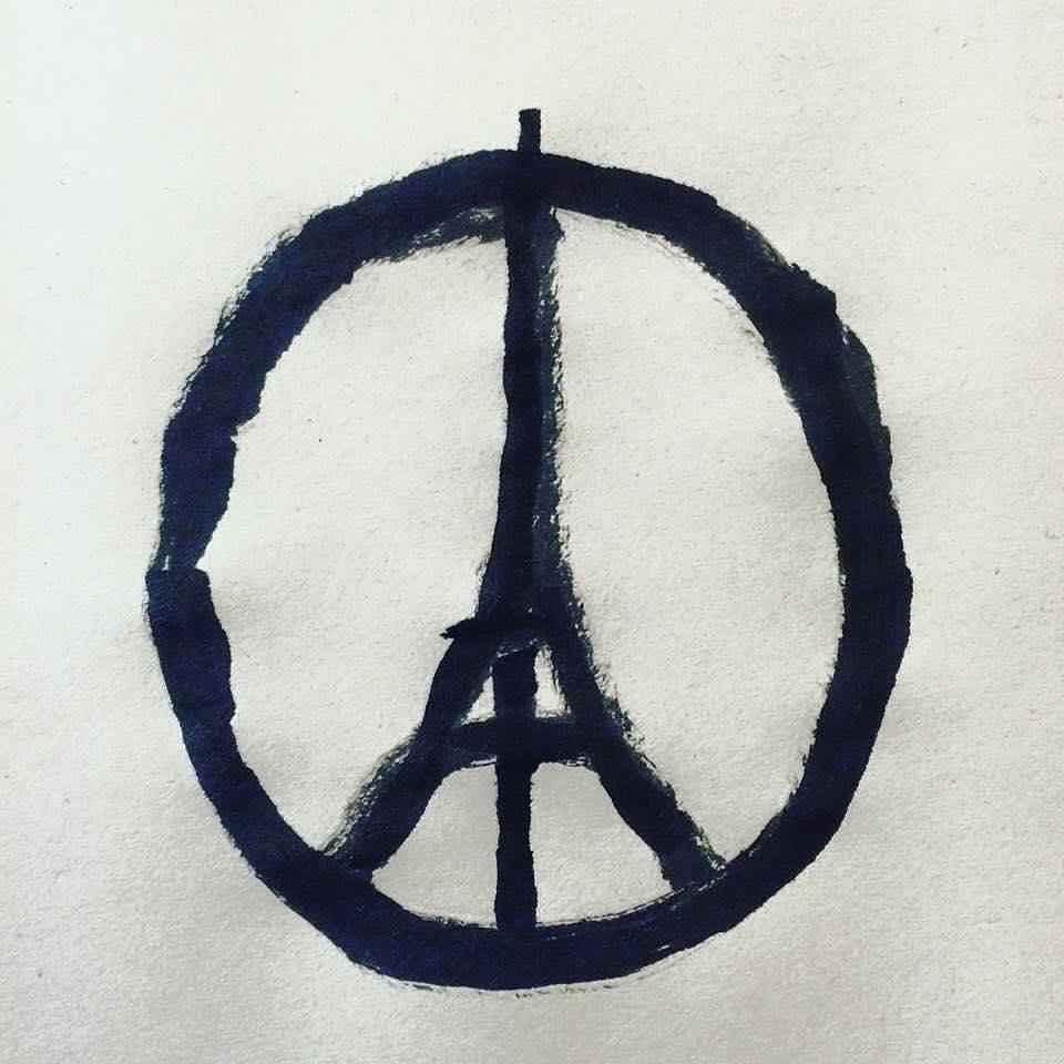 Peace for Paris. Illustration by @jean_jullien #paris #peaceforparis #prayforparis https://t.co/J9uSuL60zT https://t.co/H9yUZ04A7L