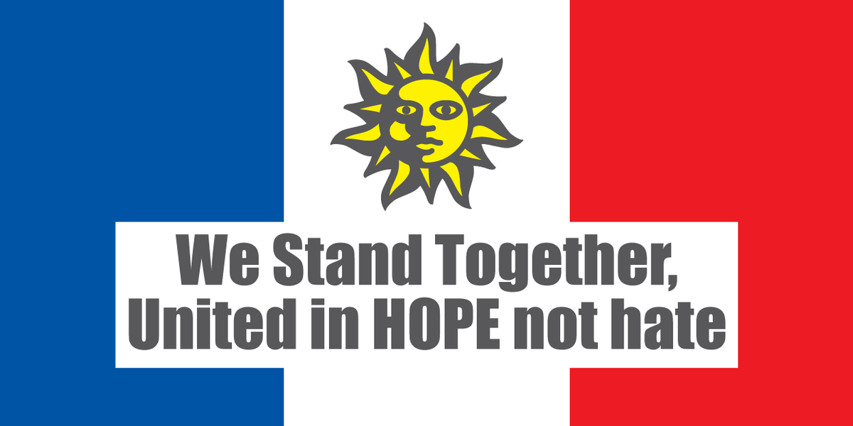 Today we stand with the people of France. We cannot allow extremists to win. HOPE must beat hate. #WeStandTogether https://t.co/oi8S4tJFj7