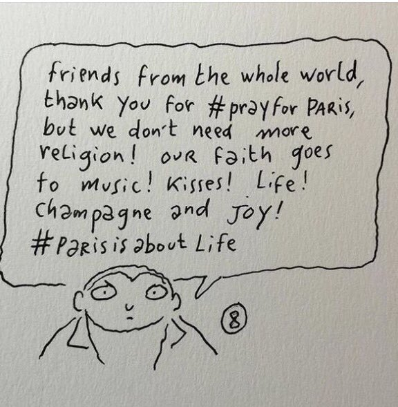 Love this. By one of the Charlie Hebdo cartoonists #parisisaboutlife https://t.co/pZZRJLBqwZ