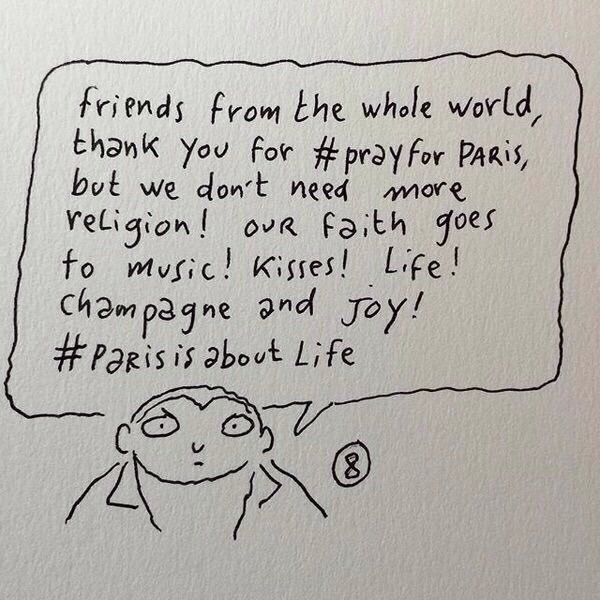 A Charlie Hebdo cartoonist gives his defiant response to the attacks in Paris. https://t.co/uoYmxVHSpl AND https://t.co/OGXjfeh9VI