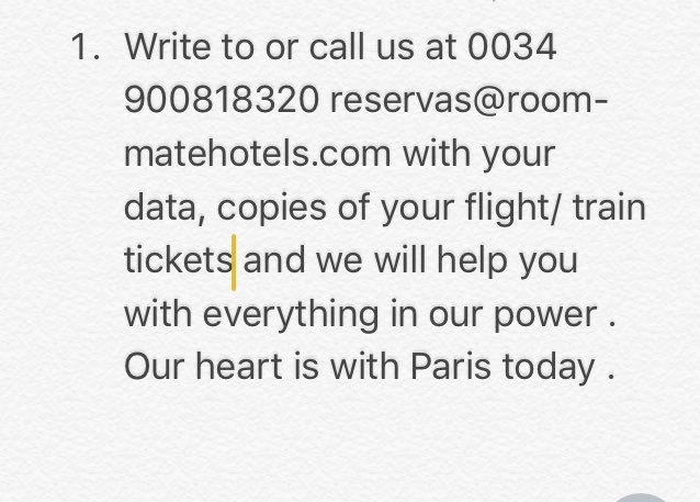 Due to France closed borders  for the terrible attacks, we offer our hotel rooms to those affected https://t.co/8D8T6v5mbF
