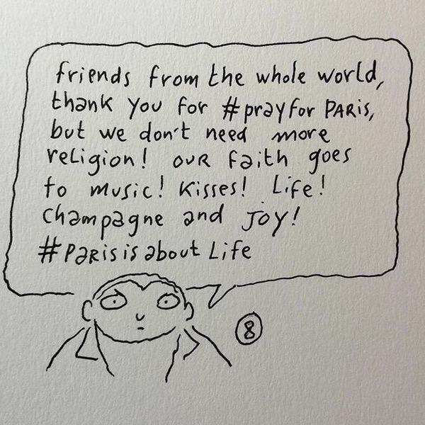 """We don't need more religion ...."" — Charlie Hebdo cartoonist Joann Sfar. #Parisisaboutlife https://t.co/ZCjamxDmBn"